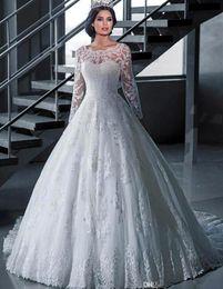 Wholesale Vintage Bridal Photos - 2015 Lace Wedding Dresses Long Sleeve Sheer Neck White Ball Gown Wedding Dress Court Train Robe De Mariage Princess Bridal Gowns HYR01