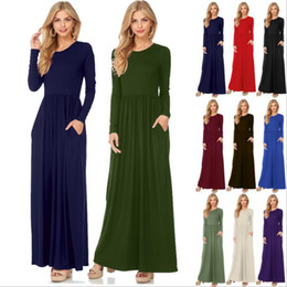 Wholesale Fashion Casual Dresses Sexy - Dresses Maxi Casual Dress Women Fashion Loose Dresses Solid Long Sleeve Dresses Round Collar Long Sexy Elegant Dress Women's Vestidos B3470