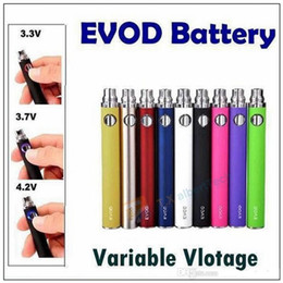 Wholesale High Voltage E Cig - 2016 High Quality Variable Voltage EVOD twist Battery Button Control Voltage 3.3V-3.7V-4.2V E Cig Battery 650mAh 900mAh 1100mAh free DHL