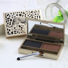 Wholesale Eye Shadow Palette Leopard - leopard eyebrow powder shadow palette with brush 2 color eye brow make up set kit eye shadow eyebrow waterproof order<$18no track