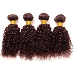 Wholesale Red Brazilian Curly Weave - Deep Wave Kinky Curly Brazilian 99J Virgin Weft Hair Burgundy Red Wine Colored Human Hair Weaves Ideal Double Wefted 6A Queens Curl Hair