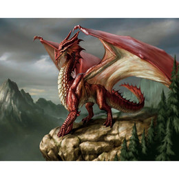 Wholesale Dragon Paint - Red Dragon Full Drill DIY Mosaic Needlework Diamond Painting Embroidery Cross Stitch Craft Kit Wall Home Hanging Decor
