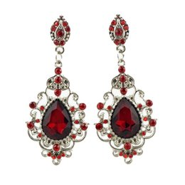 Wholesale Ruby Drop Vintage Earrings - 2016 New Design Vintage Korea Earrings Women Austrian Crystal 18K Gold Filled Ruby Drop Earrings For Women Free Shipping