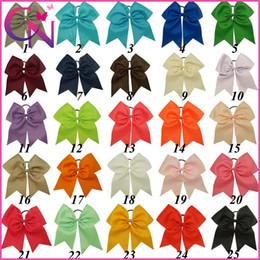 "Wholesale Girls Ribbon Hair Bows - 25Pcs lot Hot Sale 8"" Large Cheer Bow Baby Girl Solid Ribbon Cheer Bows With Elastic Band Handmade Girls Cheerleading Bow"