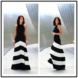 Wholesale Dress Black White Stripes - Black and white striped maxi dress backless dress summer dresses formal dresses evening Sexy Women Stripes Long Maxi Evening dress 6559#