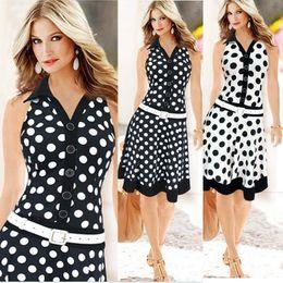 Wholesale Printed Chiffon Button Blouse - Fashion Women Casual Dress Striped Black Polka Dot Chiffon Blouse & Low Waist Sleeveless Dresses for OL Casual Suits Slim Elegant