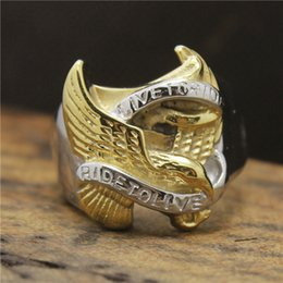 Wholesale Tops Steel Eagle - 316L Stainless Steel Top Quality Biker ring in Eagle Gold&Silver