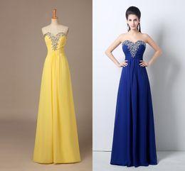 Wholesale Designer Dresses T Length - Long Chiffon 2015 Prom Dresses Sweetheart A-Line Floor-Length In-stock Yellow  Blue Formal Party Dresses 100% Original Designer HK204