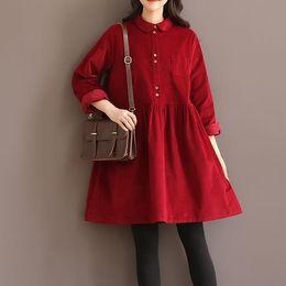 Wholesale Corduroy Shirt Dresses - New 2016 Hot Spring Women Corduroy Casual Loose Shirt Dress Korean Style Mori Girl Vintage Front Button Mini Vestidos Femininas