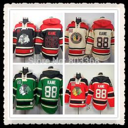 2016 New, Cheap # 88 Patrick Kane Felpa con cappuccio, Chicago Blackhawks Rosso / Nero / Verde / Crema Felpa con cappuccio Old Time, numeri e nome sono cuciti cheap green hockey hoodies da hockey verde hockey fornitori