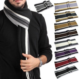 Wholesale Cashmere Scarves Match - New Mens Winter Warm Classic Knitting Cashmere Fringe Striped Tassel Long Scarf Wrap Color Matching 10 Colors