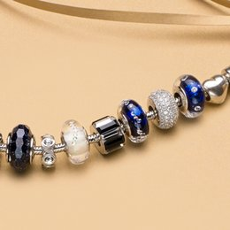 Wholesale Dark Blue Murano Glass Beads - Wholesale-ATHENAIE Genuine Murano Glass 925 Silver Core Blink Dark Blue Sand Clear CZ Charm Bead Fit All European Bracelets Fine Jewelry