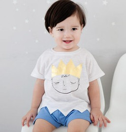 Wholesale Boys Wearing Briefs - Summer Children Boys Prince Printed Short Sleeve Tops Wear + Blue Short Pants 2pcs Outfits Baby Boy Cartoon Set B3809