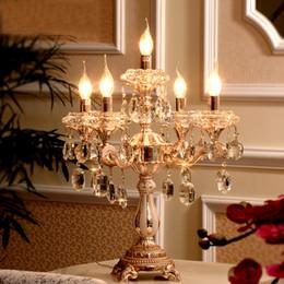 Wholesale Christmas Candelabra Lights - led table lamps modern christmas table decoration lamp shades for desk lights candelabrum crystal table lights for bedroom