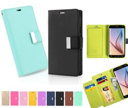 Wholesale Note Flip Retail - Note5 Mercury Rich Diary Wallet PU Flip Leather Case TPU Cover For iPhone 5 6 Plus Samsung Galaxy S5 S6 Edge Note 4 With Retail Packag