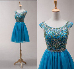 Wholesale Short Custom Made Homecoming Dresses - Hot Sales Homecoming dresses Short Beads Sequins Scoop Graduation Gowns Party Dress 2015 New Fashion SZJ5