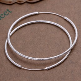Wholesale New Gold Finds - Wholesale- 925 stering silver jewelry silver hoop earrings hot sale fashion women finding 2015 new frosted round hoop earings CE044