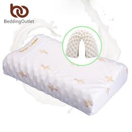 Wholesale Latex Cervical Pillow - Wholesale- BeddingOutlet Thailand Natural Latex Bedding Bedroom Pillow Cervical Orthopedic Natural Foam Pillow Neck Health 60x35x11 13cm