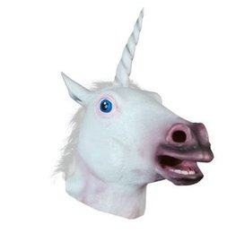 Wholesale Horse Head Mask Latex Free - Free Shipping Creepy Unicorn Horse Mask Head Halloween Costume Theater Prop Novelty Latex Rubber Halloween Mask