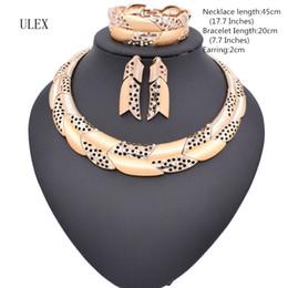 Wholesale Costume Rhinestone Necklace - Hot sale Dubai Fashion vintage luxury rhinestone bridal necklace earring bracelet african costume gold color jewelry sets ZM07Z