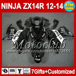 Wholesale Zx14 Black - Black west 7gifts For KAWASAKI NINJA ZX14R 12-13 ZX-14R Hot black white 25C1 ZX 14R 12 13 12 13 ZX14 R 2012 2013 2012 2013 ZX 14 R Fairing