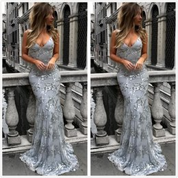 Wholesale Crossed Back Dresses - 2018 Silver Halter Sequins Mermaid Long Prom Dresses Lace Backless Cross Back Floor Length Party Evening Gowns