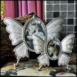 Wholesale Vintage Metal Photo Frames - Free shipping,Fashion Beautiful Butterfly europeanish Photo Frame with Clear Rhinestones, Home Decration vintage Picture Photo Frame Craft