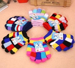 Wholesale Crochet Gloves For Baby - Fashion Baby Boys Girls Mittens Outdoor Finger Gloves Cute stripe Cartoon Winter Warmer Child Kids Accessories Crochet Gifts for Christmas