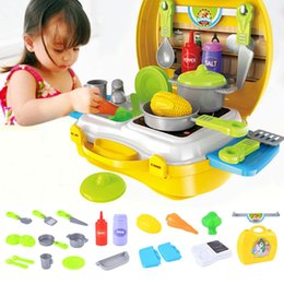 Wholesale Classic Miniature Toys - Wholesale- Kids Play House Toys Plastic Miniature Kitchen Cookware Set Pretend Play Educational Birthday Gift Classic Toys for Children