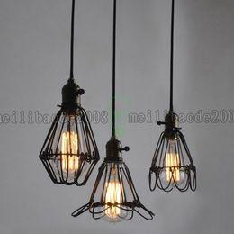 Wholesale Vintage Green Lamps - Details about Retro Ceiling lamp Industrial Iron Vintage Chandelier Kitchen Shop Pendant Light LLWA033
