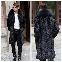 Wholesale Hair Neck Coat Men - free shipping Mens Long Sleeve Faux Fur Coat Lapel Neck Long Hair Thick Warm Winter Fox Fur Trench Coats Topwear Winterwear MT05