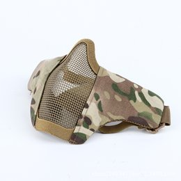 Wholesale steel mesh mask - Tactical Paintball Masks Protective Airsoft Mask Outdoor Hunting Half Lower Face Metal Steel Net Mesh Mouth Half Face Mask