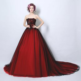 Wholesale Hand Embroidered Suits - 2017New wine red Lace Bride strapless big long skirt Wedding dress dinner suit sexy wedding Church Evening dress