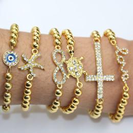 Wholesale Stretch Sideways Beads Bracelet - Pop product Set of 6 gold CCB Beads bracelet With Sideways Clear Rhinestone Love Cross Infinity love stretch Bracelet