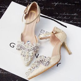 Wholesale Kitten Heel Beaded Wedding Shoes - Wholesale In stock 2016 pointed toe champagne lace crystals wedding shoes pearl lace-up Kitten heel rhinestones bridal shoes