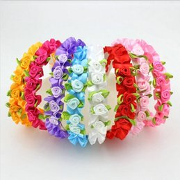 Wholesale Kids Flower Girl Jewelry - Wedding Festival Baby Children Flower Headband Alice Band Lovely Floral Garland Girl Kids Hair Band Headwear Hair Jewelry