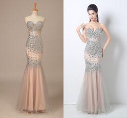 Wholesale Slim Body Dress - In-Stock 2015 Prom Dresses Beaded Sequin Body Sweetheart Mermaid Slim Floor-Length Pageant Gowns Evening Dresses Prom Dresses TU379