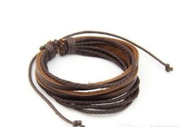 Wholesale Tribal Leather Wristbands - Retro Tribal Leather Bracelet Men Women Rope Leather Braided Real Leather Bracelet wristbands Black and Brown vintage jewelry