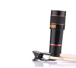 Wholesale Mobile Phones Telescope Camera 12x - Universal 12X Optical Zoom Telescope Camera Lens Clip Mobile Phone Telescope For Smart phone in retail package 60pcs lot