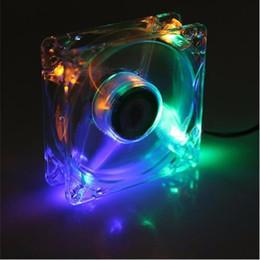 Ventilador axial de 12v dc online-Venta al por mayor a estrenar Fan de la computadora de la PC 80m m con 4ea led 8025 8 cm Silent DC 12V LED chasis luminoso Molex 4D Plug Axial Fan
