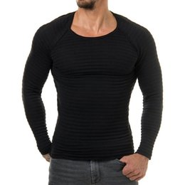 Wholesale Knitting Two Color Sleeve Sweater - Two piece New Men Knitted Basic Sweater Fashion Brand Clothing Men's Striped Sweaters Solid Color Slim Fit Men Pullover For Autumn Winter