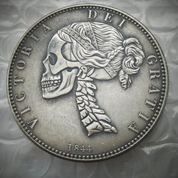Wholesale Bronze Hand - Hobo 1844 Queen Victoria Young Head Silver Crown Coin - Great Britain Skull Zombie Skeleton Hand Carved Copy Coins high quality