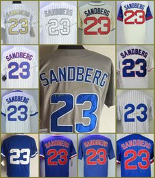 Wholesale Grey Pinstripe - Chicago 23 Ryne Sandberg Baseball Jersey 1969 1988 1990 1994 Turn back Throwback Grey White Pinstripe Blue Cool Base Retro Jerseys