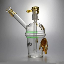 Wholesale Mini Glass Cups - 2015 new Cheech Glass Honey Cup with One pair of tortoise Oil Rig glass bongs mini glass Hookah glass water pipe Starbuck Cup glass pipe