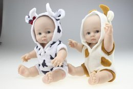 Wholesale 12 Figure Clothes - 25cm Mini Full Silicone Reborn Baby Doll Lovely Sheep Clothing Can Enter into Water