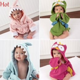 Wholesale Baby Thermal Sleepwear - Animal Shape Baby Hooded Bathrobes Fleece Soft Cartoon Baby Bathrobe Baby Bath Towels Blankets Character Beach Tower Sleepwear 18394