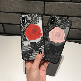 Caso do iphone da cópia da flor on-line-Nylon Lace Imprimir Flor telefone capa para iphone Xr xs max x 8 7 6s PC Case TPU Soft Case de luxo Telefone