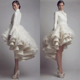 Wholesale Vintage Designer Wedding Dresses - Designer Krikor Jabotian High Low Wedding Dresses High Collar Ruffle Feather A Line Satin Long Sleeve Bridal Gowns Plus Size Wedding Gowns