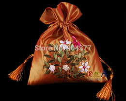 Wholesale Embroidered Drawstring Bags - High End Hand Ribbon embroidered Tassel Christmas Favor gift Bags Drawstring Silk Fabric Candy Pouches 10pcs lot mix color Free
