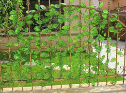 Wholesale Flowers Fence - Artificial Flower Silk leaf top grade for fence, artificial plant leaves balcony window,air-condition channel Decoration Garland decoration